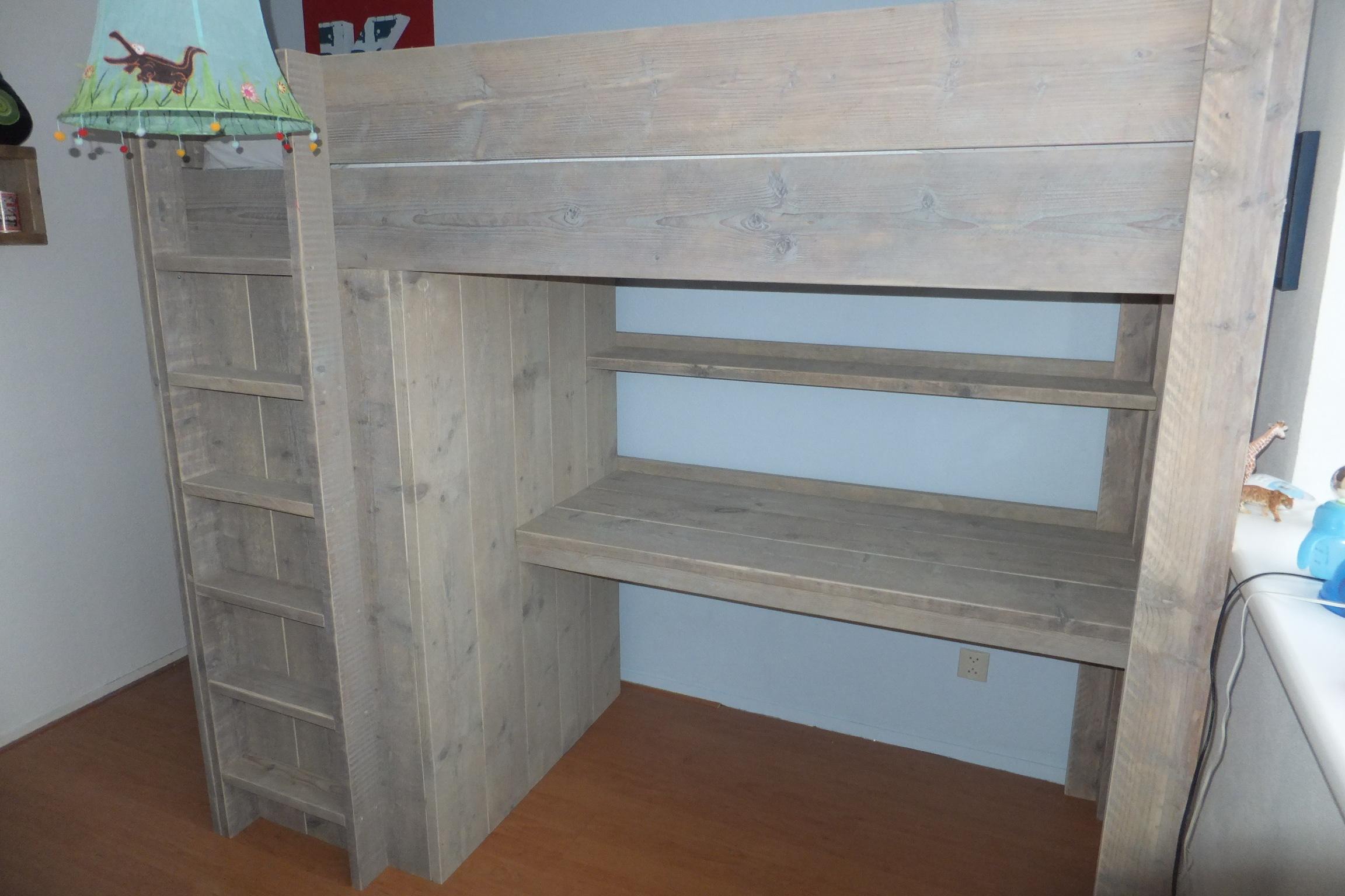 Steigerhouten hoogslaper met kast en bureau  u0026quot;Koen u0026quot;   jl meubelmaatwerk
