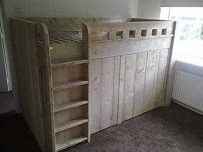 Halfhoogslaper inclusief kast thijs jl meubelmaatwerk - Buitenste trap ...